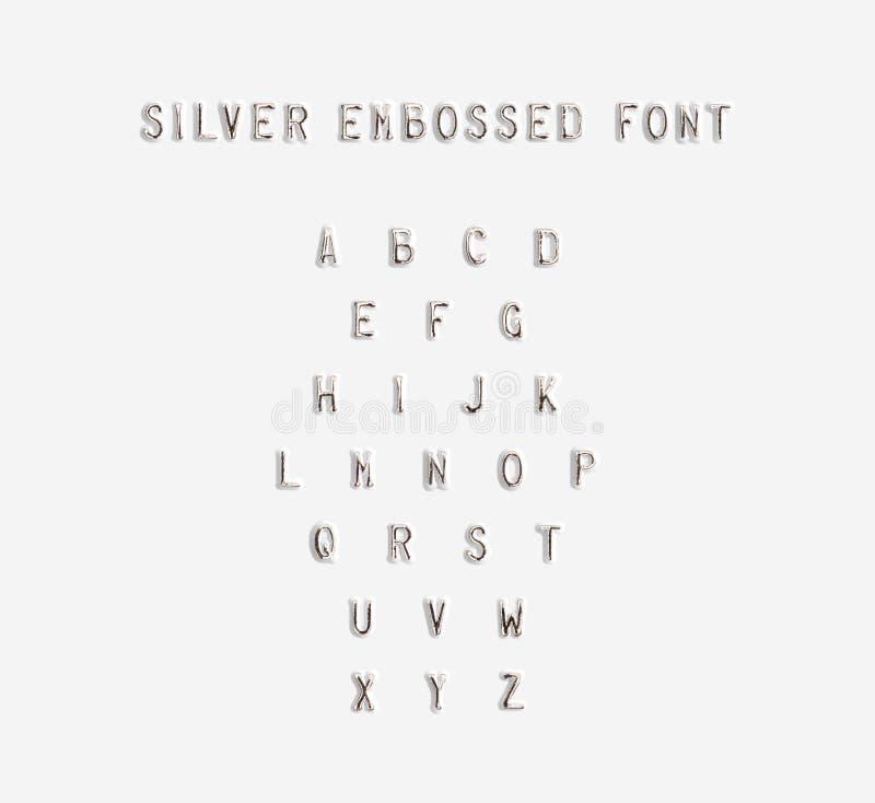 Изолированный алфавит выбитый серебром, иллюстрация 3d стоковая фотография rf