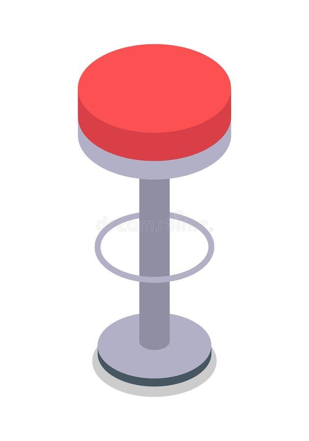 Изолированный барный стул в красном цвете Плоский дизайн бесплатная иллюстрация