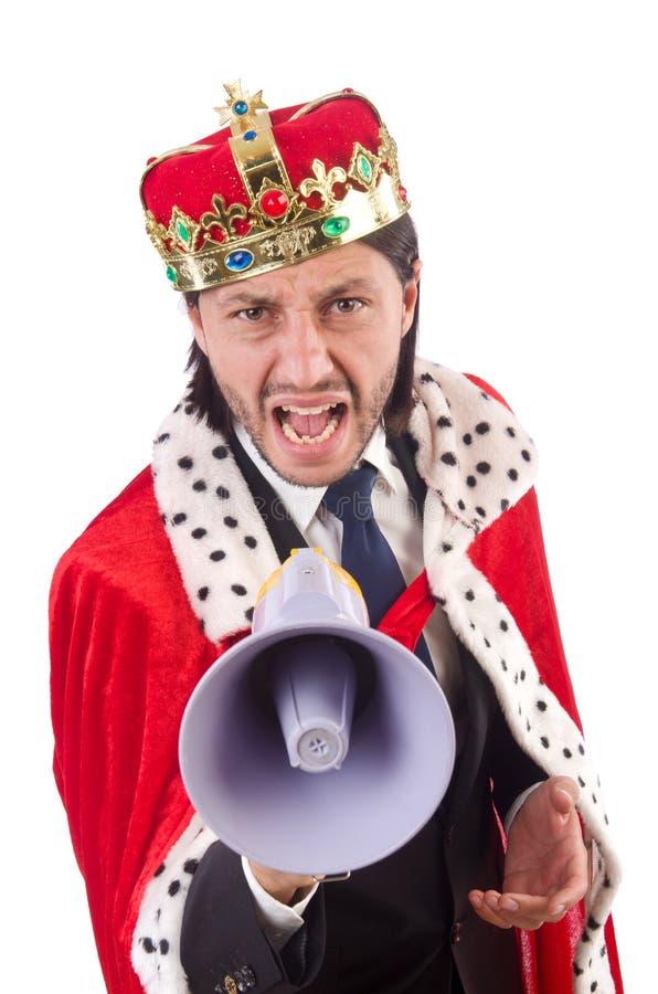 Изолированный бизнесмен короля в смешной концепции стоковая фотография