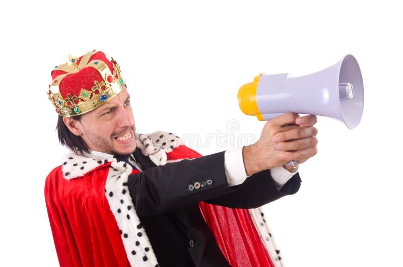 Изолированный бизнесмен короля в смешной концепции стоковое фото rf