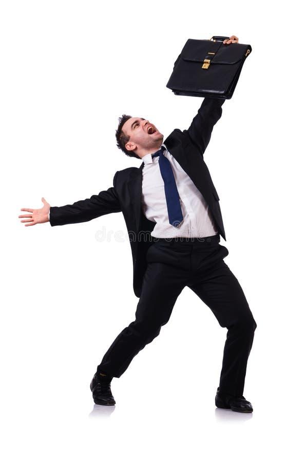Изолированный бизнесмен танцев стоковое изображение