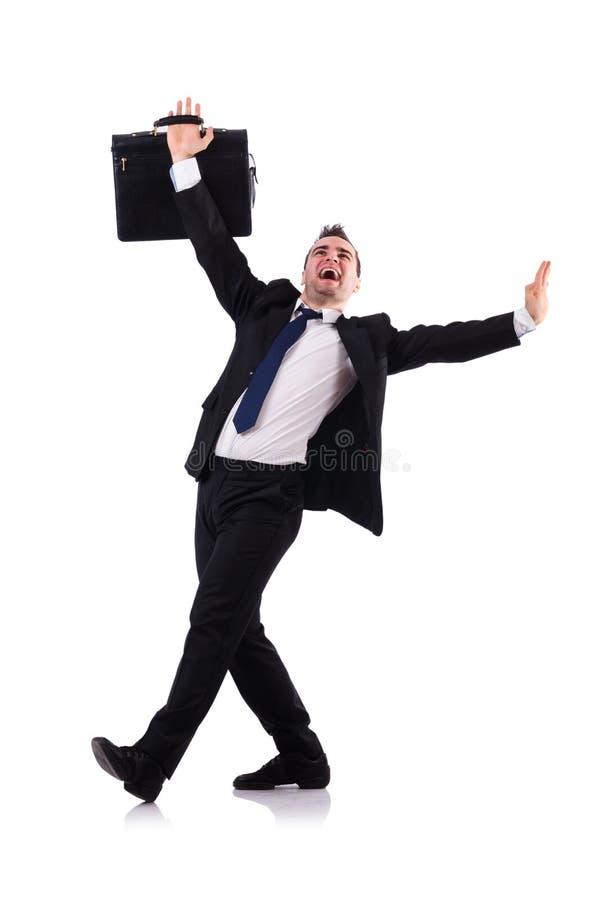 Изолированный бизнесмен танцев стоковые фото