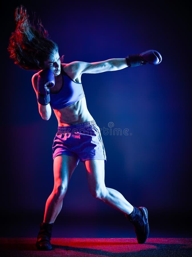 Изолированный бокс боксера женщины стоковое изображение rf