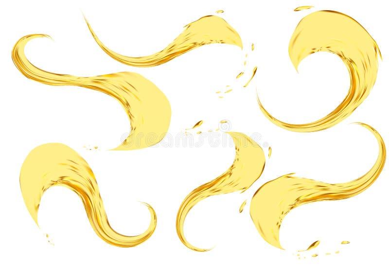 Изолированный брызгать масла на белой предпосылке Комплект иллюстрации вектора 3d Реалистическая желтая жидкость с падениями иллюстрация штока