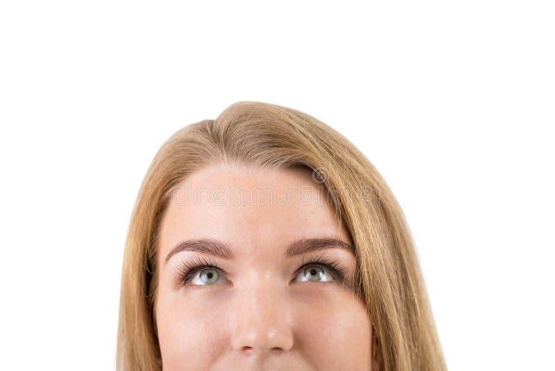 Изолированный близко вверх по портрету белокурой женщины стоковая фотография rf