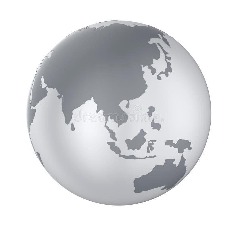 Изолированный взгляд Азии глобуса земли иллюстрация штока