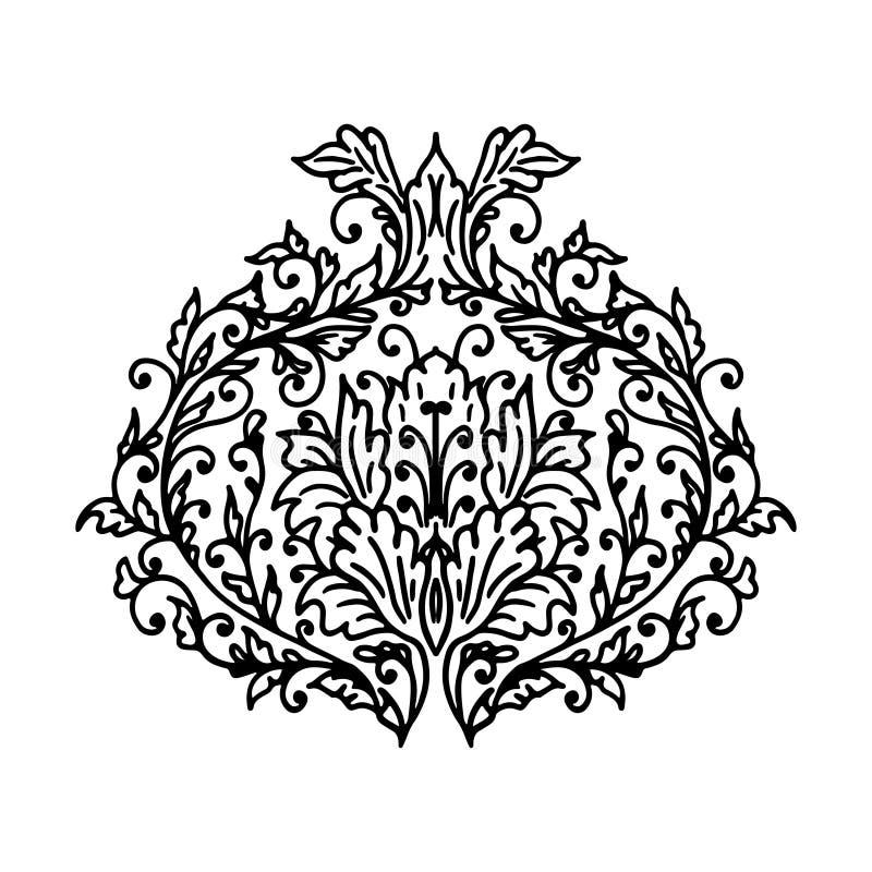 Изолированный винтажный цветочный узор также вектор иллюстрации притяжки corel иллюстрация вектора