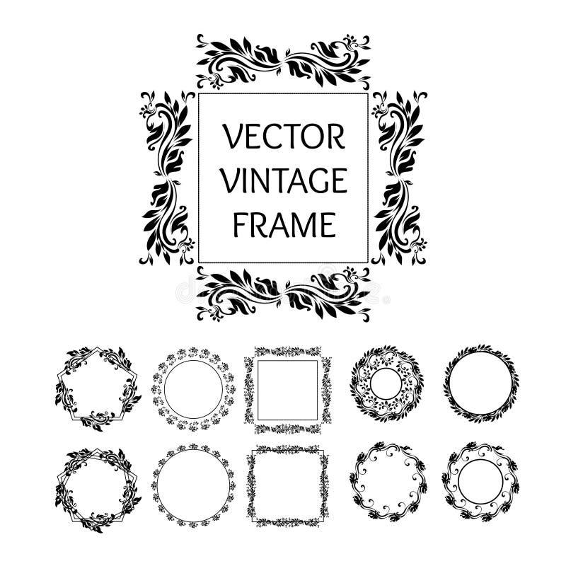 Изолированный год сбора винограда вектора обрамляет собрание, круг, квадрат и пентагон декоративные элементы иллюстрация вектора
