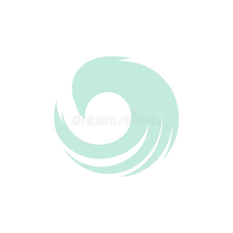 Изолированный голубой логотип вектора взгляда со стороны летящей птицы цвета Животный логотип Крыла с значком контура пер ураган иллюстрация вектора