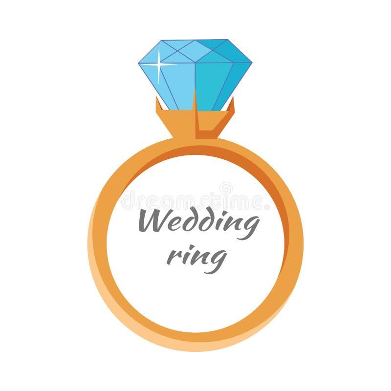 Изолированный значок обручального кольца Концепция драгоценностей бесплатная иллюстрация
