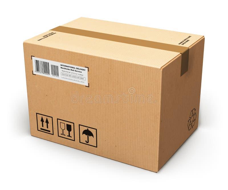изолированный картон коробки затеняет белизну иллюстрация штока