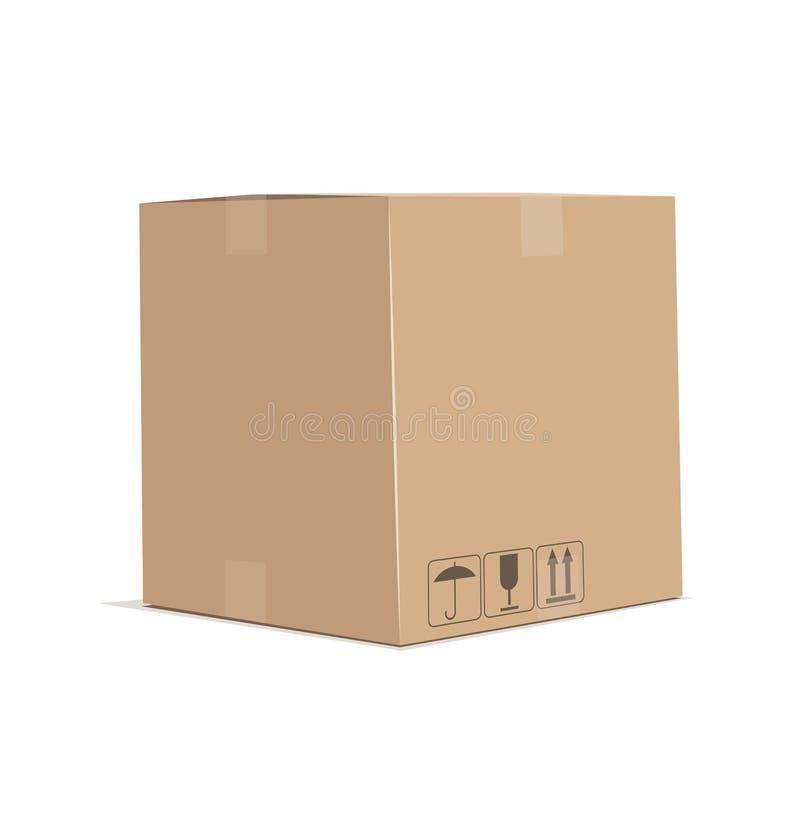 изолированный картон коробки затеняет белизну бесплатная иллюстрация