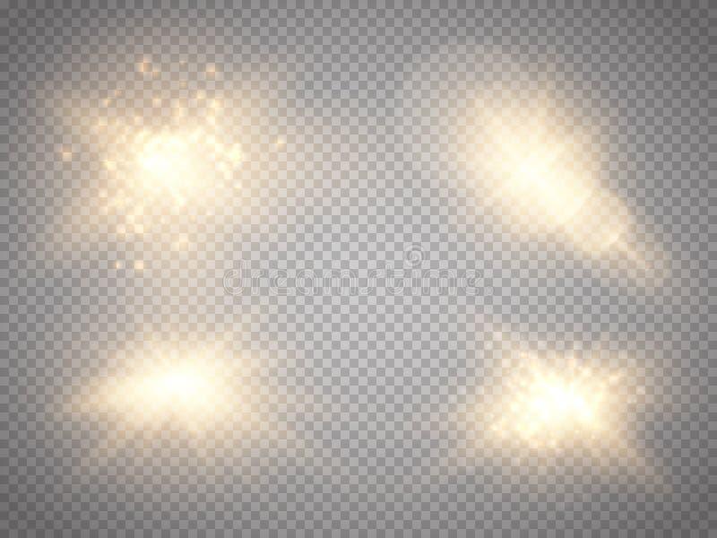 Изолированный комплект золотых накаляя световых эффектов на прозрачной предпосылке Световой эффект зарева Взрыв звезды с Sparkles иллюстрация вектора