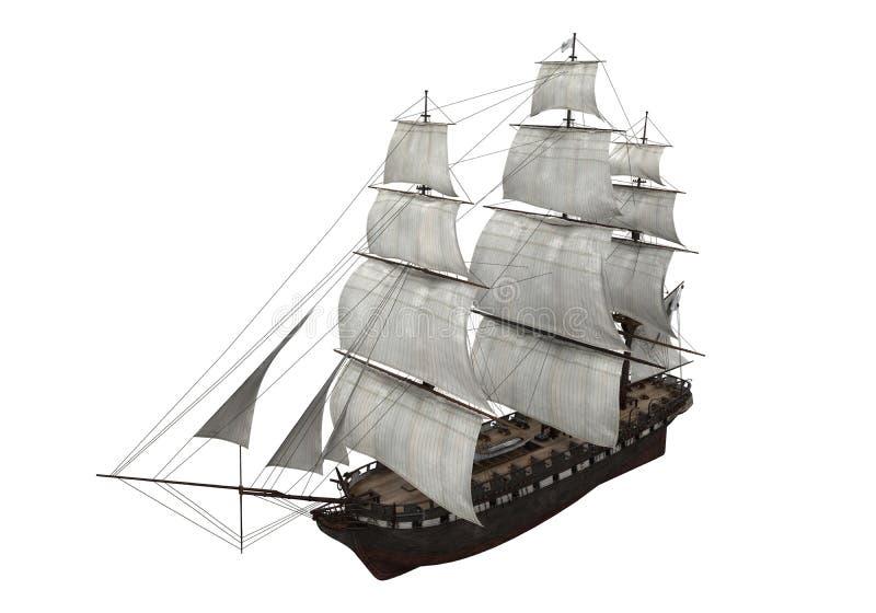 Изолированный корабль ветрила иллюстрация штока