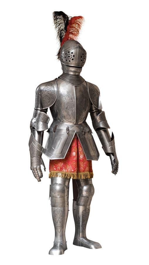 Изолированный костюм панцыря рыцаря, стоковые изображения rf