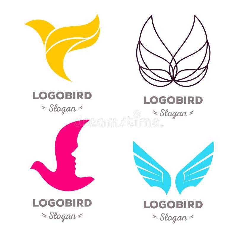 Изолированный красочный комплект логотипа вектора летящих птиц Животное собрание логотипов иллюстрация штока