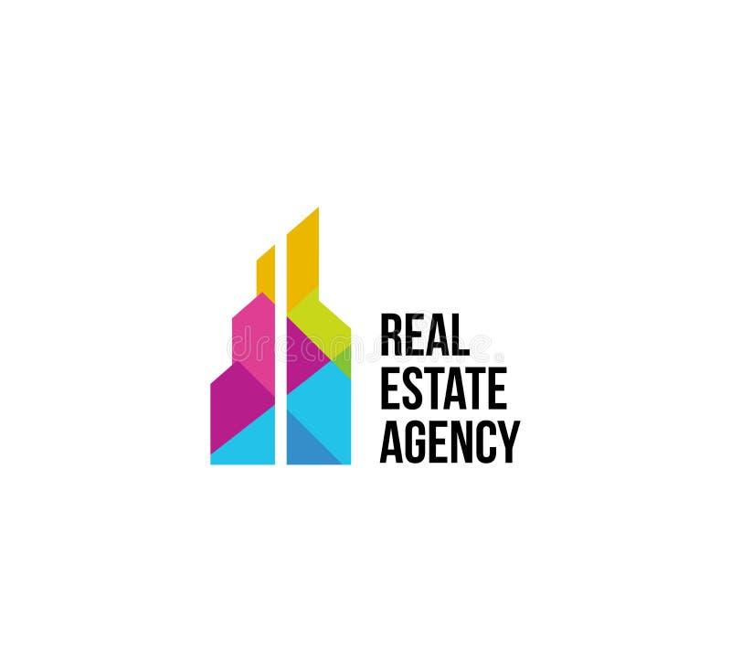 Изолированный красочный логотип имущественного агентства недвижимости, логотип дома на белизне, домашнем значке концепции, иллюст иллюстрация вектора