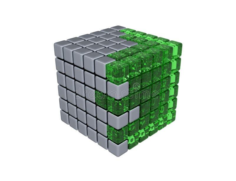 изолированный куб 3D - иллюстрация штока