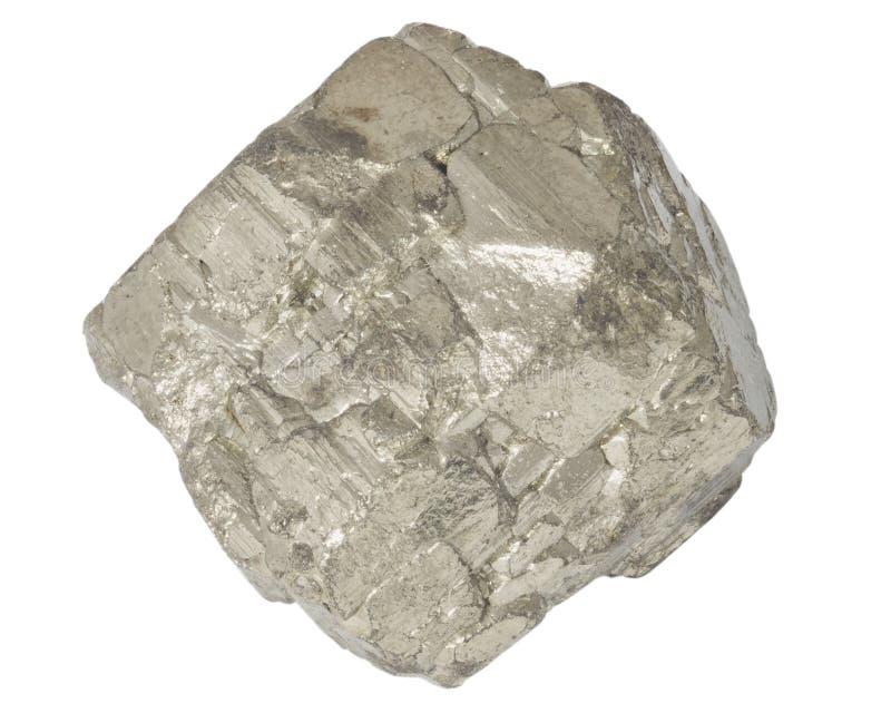 Изолированный макрос crystall пирита минеральный стоковое изображение