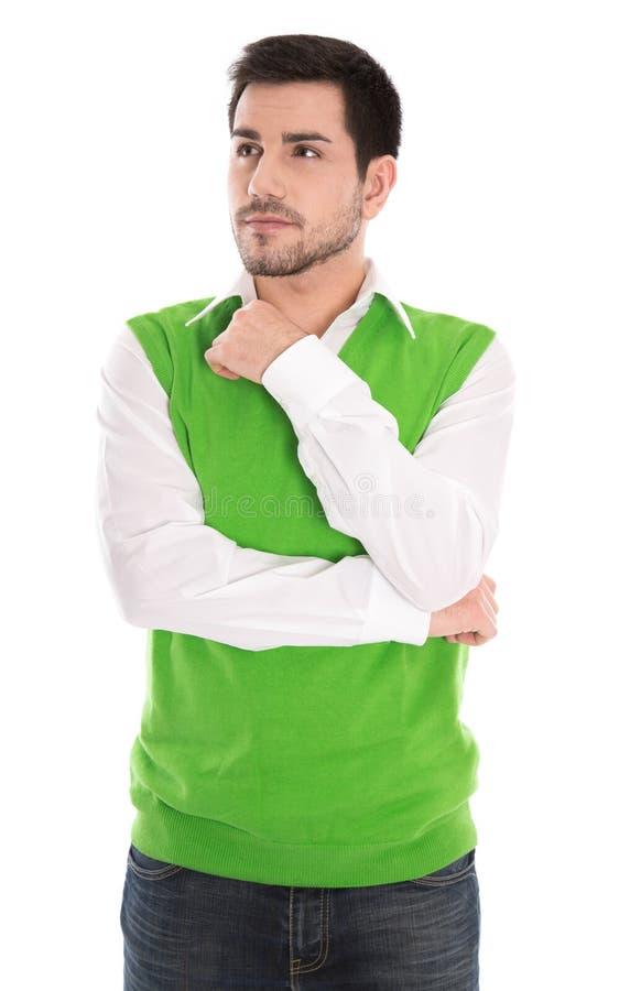 Download Изолированный обдумывающ красивый менеджер на белизне. Стоковое Изображение - изображение насчитывающей brussels, работник: 37927249