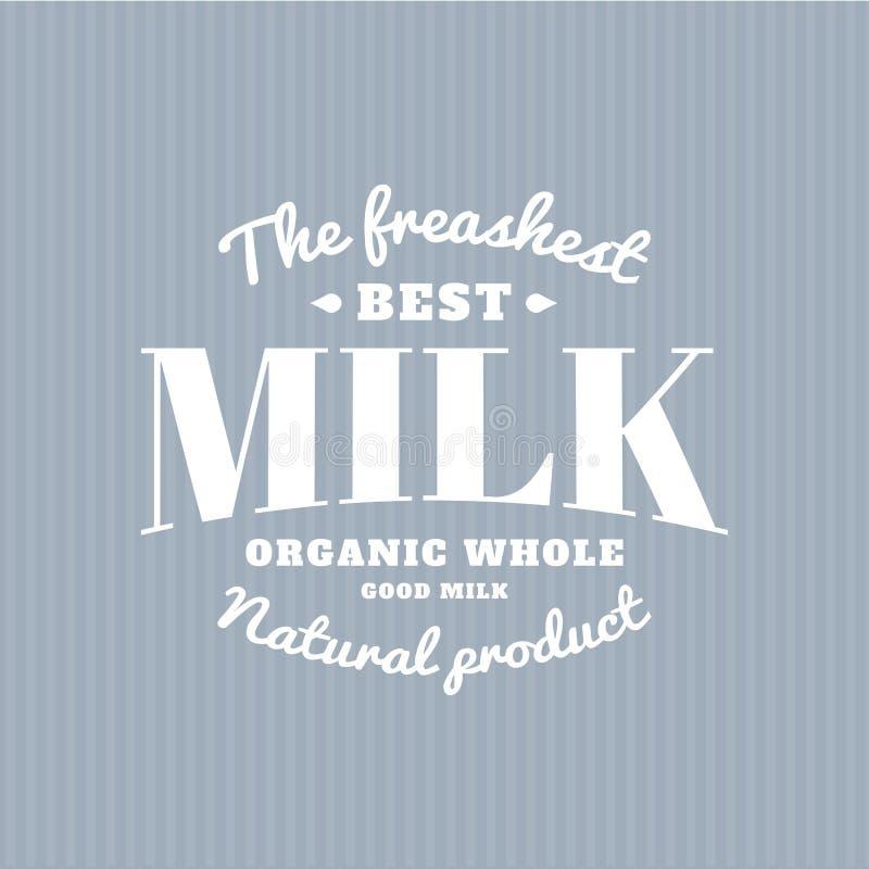 Изолированный логотип вектора молока Белое сочинительство Эмблема молокозавода Стикер старой школы иллюстрация штока