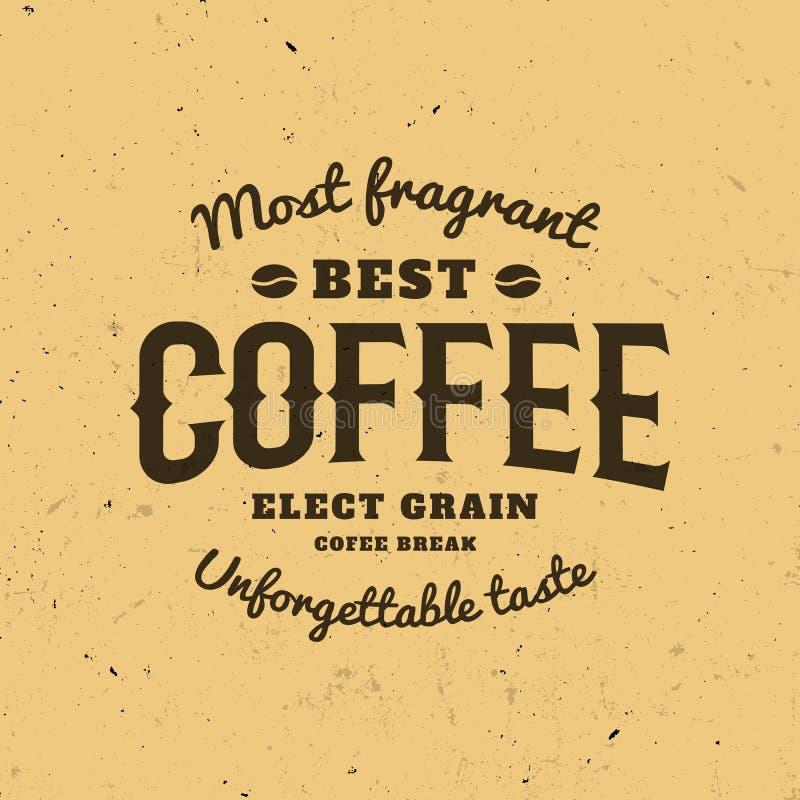 Изолированный логотип кофе Ретро логотип стиля Современный шрифт Каллиграфическое сочинительство бесплатная иллюстрация