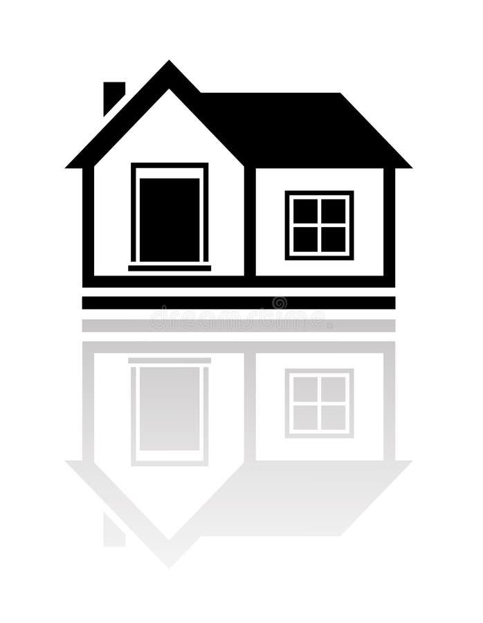 Изолированный дом с отражением бесплатная иллюстрация