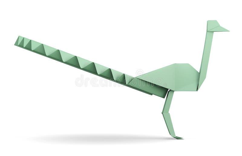 Изолированный павлин бумаги Origami перевод 3d иллюстрация вектора