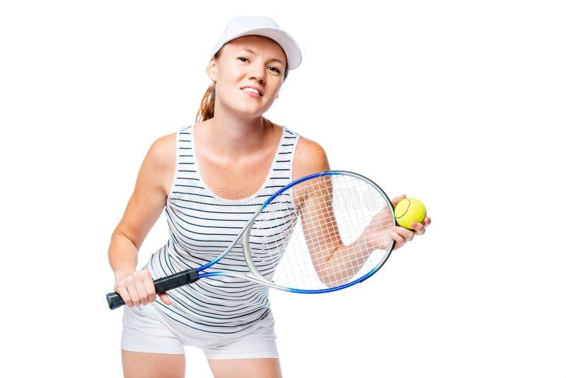 Изолированный портрет молодого теннисиста на белизне стоковая фотография rf