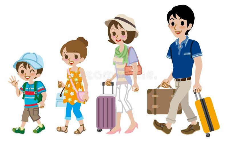 Изолированный путешественник семьи, бесплатная иллюстрация