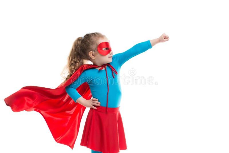 Изолированный ребенок супергероя (девушка), стоковое изображение rf