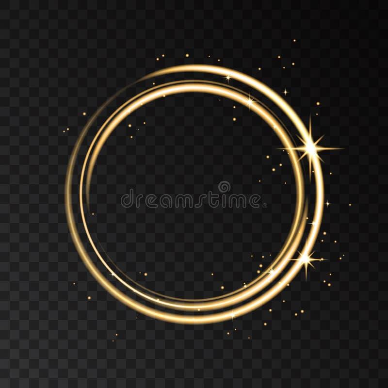 Изолированный световой эффект золотого неонового круга на черном прозрачном ба иллюстрация штока