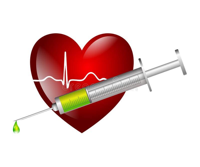 Изолированный символ впрыски ekg сердца иллюстрация штока