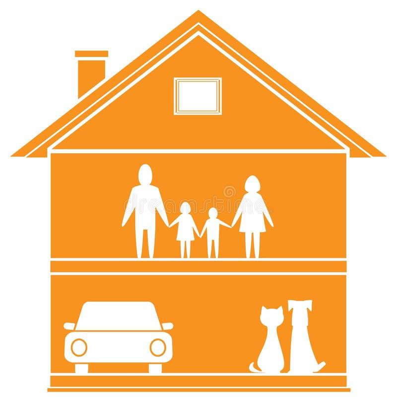 Символ коттеджа с домом и счастливой семьей иллюстрация вектора