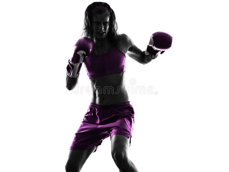 Изолированный силуэт бокса боксера женщины kickboxing стоковое фото