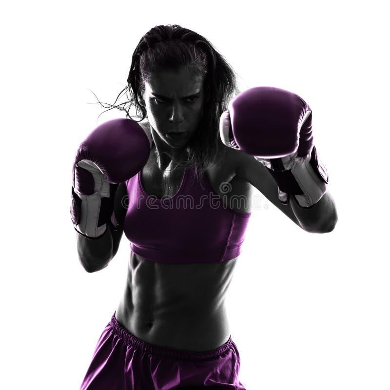 Изолированный силуэт бокса боксера женщины kickboxing стоковые фото