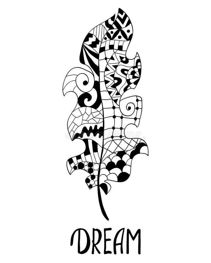 Изолированный силуэт пера павлина Перо Zentangle в этническом иллюстрация вектора