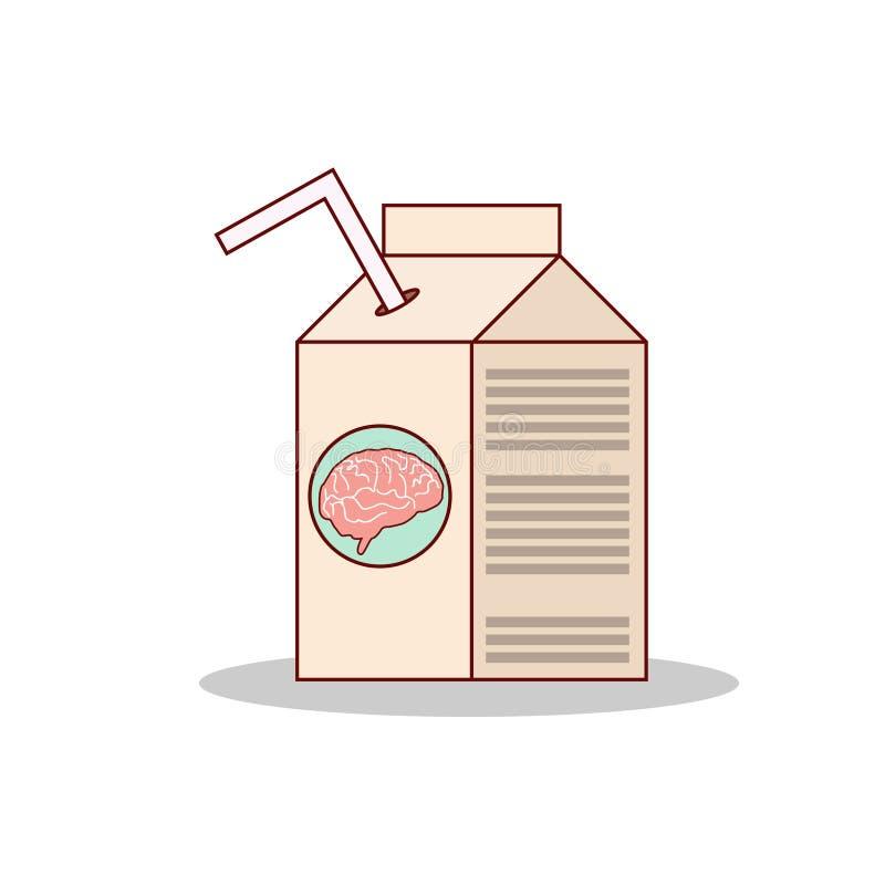 Изолированный сок мозга питья шаржа на коробке иллюстрация вектора