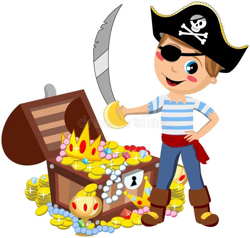Изолированный сундук с сокровищами шпаги мальчика пирата иллюстрация вектора