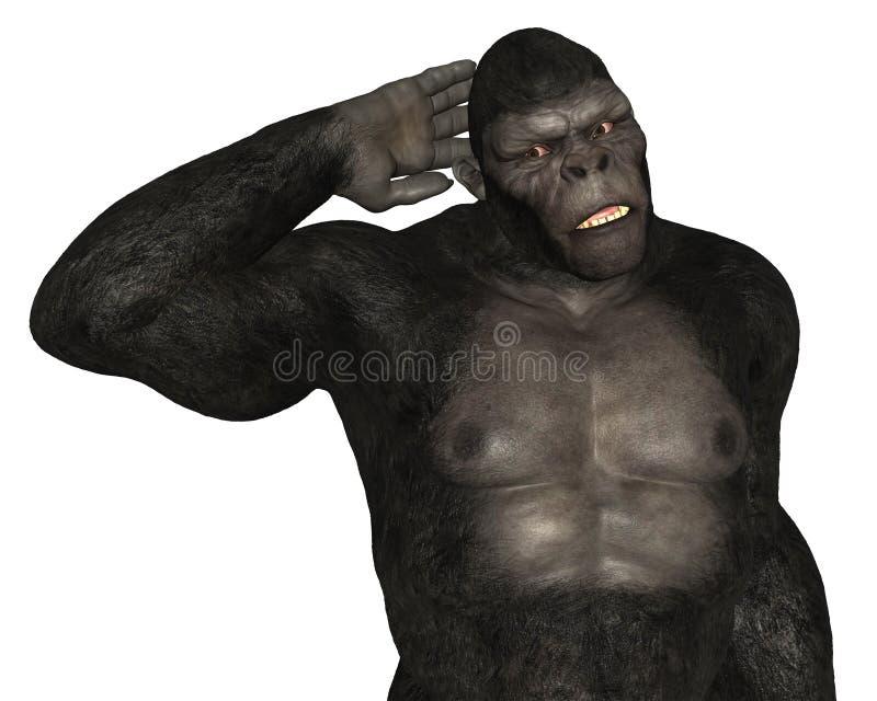 Изолированный слушать обезьяны гориллы иллюстрация вектора