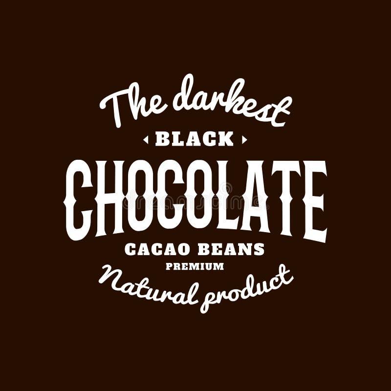 Изолированный темный логотип вектора эмблемы шоколада Белое сочинительство цвета на черной предпосылке Сладостный логотип десерта бесплатная иллюстрация