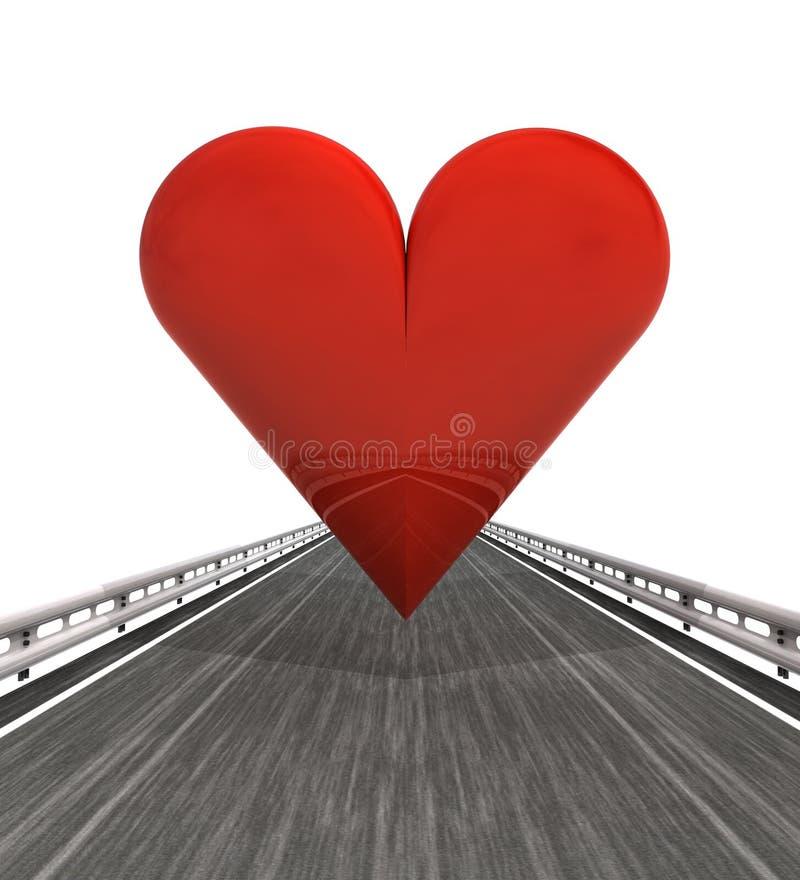 Изолированный хайвей с красным сердцем иллюстрация вектора