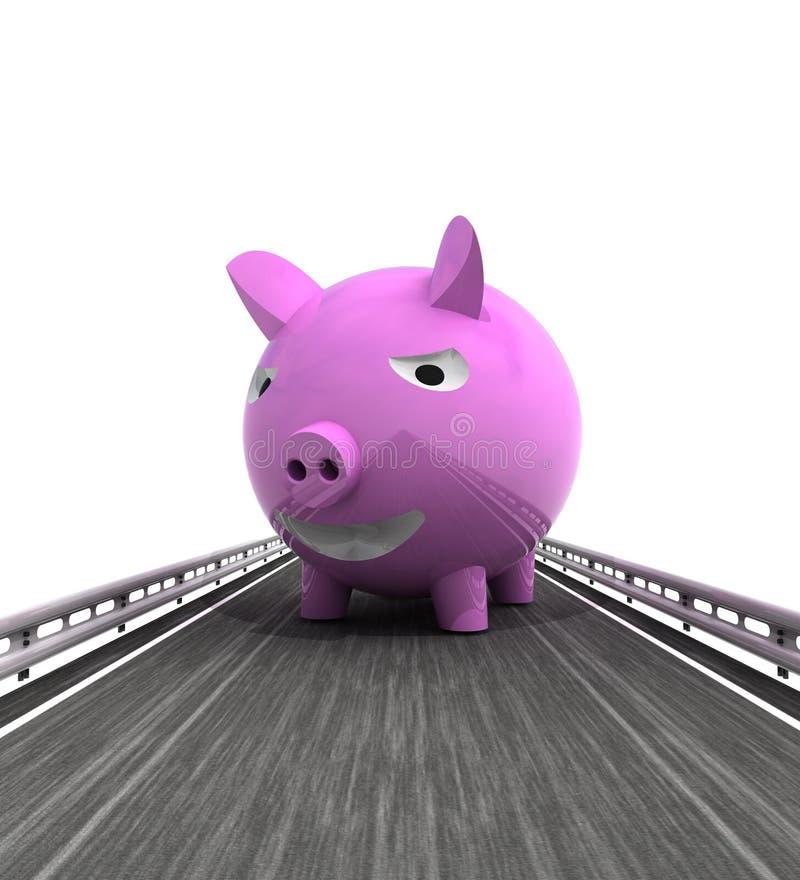 Изолированный хайвей с розовой свиньей иллюстрация вектора