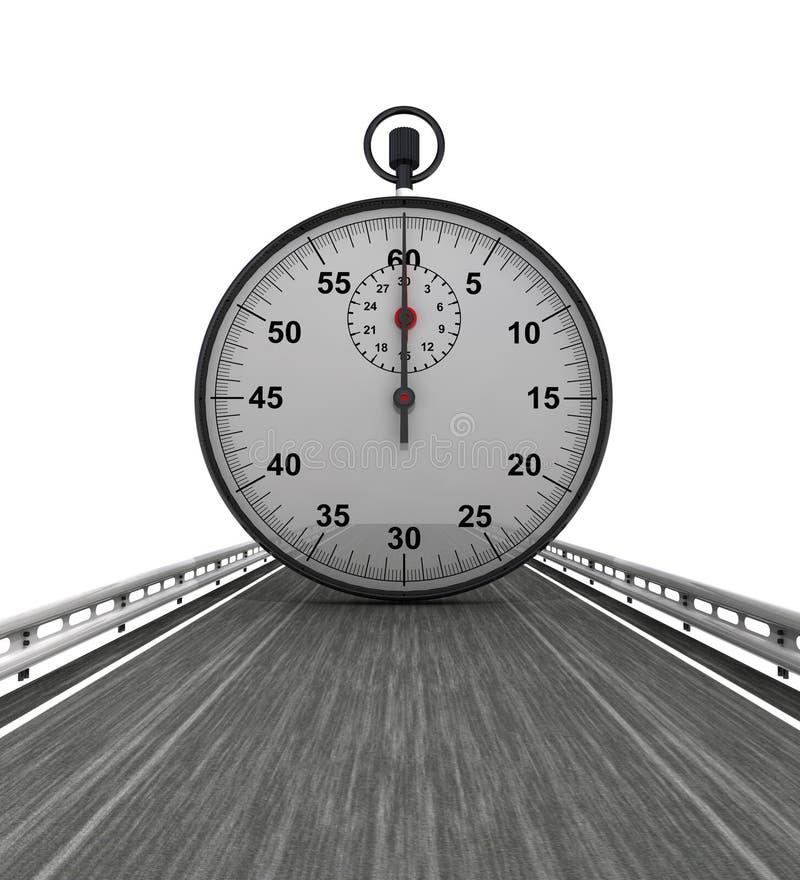 Изолированный хайвей с сияющим секундомером иллюстрация штока