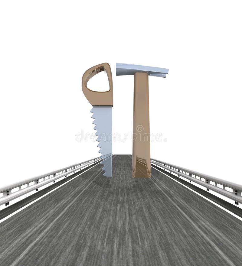 Изолированный хайвей с увидели и инструменты молотка иллюстрация вектора