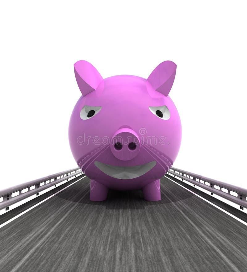 Изолированный хайвей с фронтом свиньи иллюстрация вектора