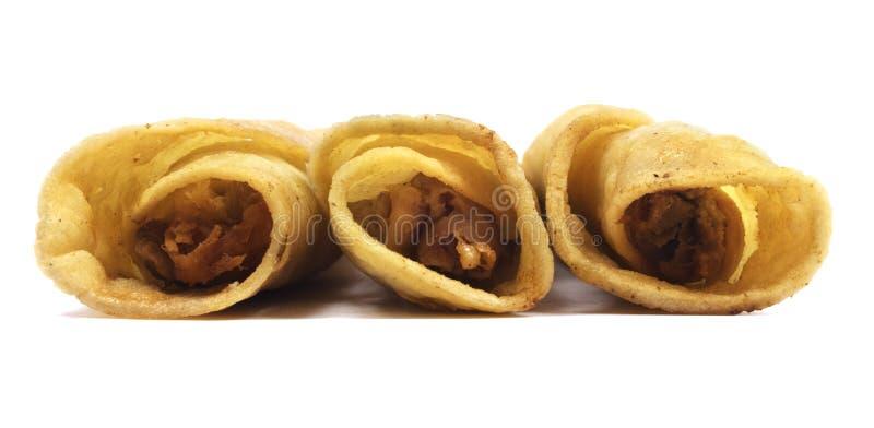 Изолированный цыпленок Taquitos стоковая фотография rf