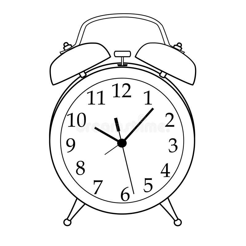 Изолированный черно-белый будильник шаржа иллюстрация вектора