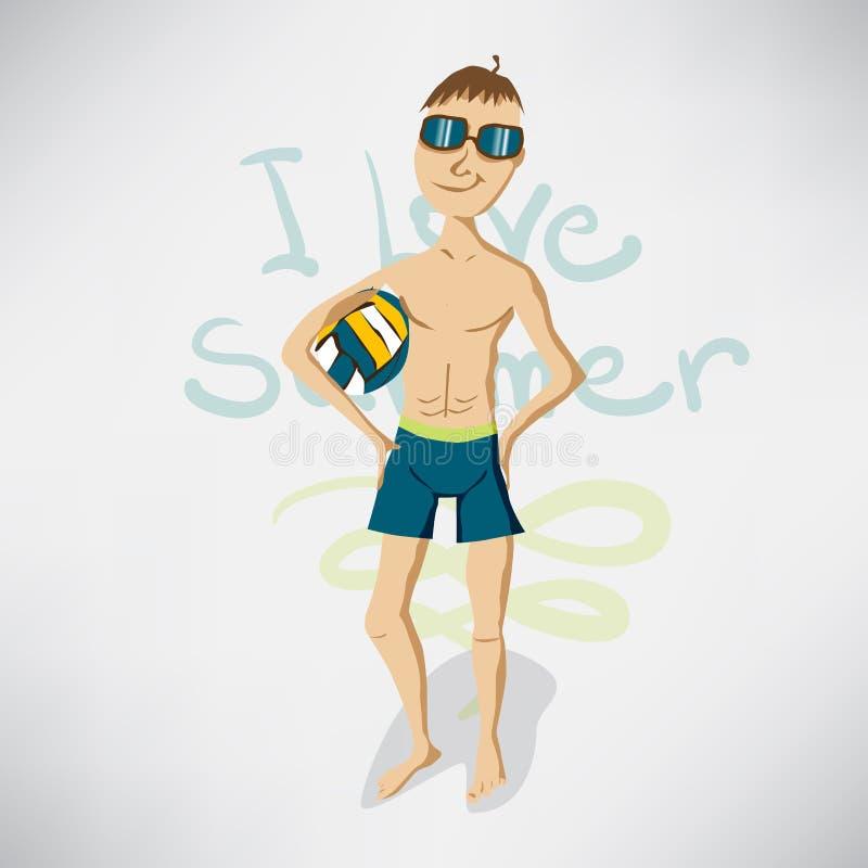 Изолированный человек изображения в купальнике на пляже с волейболом иллюстрация вектора