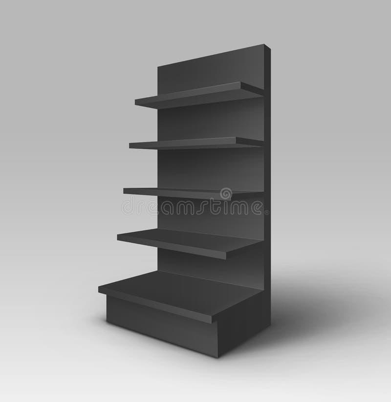 Изолированный шкаф магазина стойки торговлей выставки вектора черный пустой пустой с внешней витриной магазина полок бесплатная иллюстрация